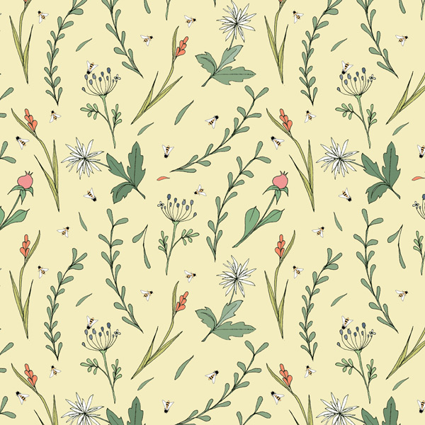 Alessandra Spada, fabric pattern, wild flowers pale yellow background