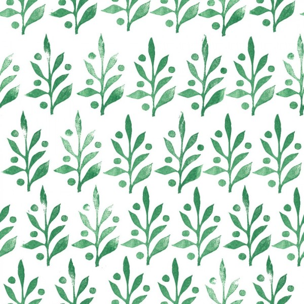 Alessandra Spada handprint holly branches green christmas leaves